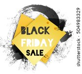 black friday words on black ink ... | Shutterstock .eps vector #504983329