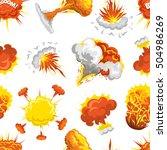 fire bomb explosion boom effect ... | Shutterstock .eps vector #504986269