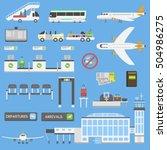 plane airport symbols flat... | Shutterstock .eps vector #504986275