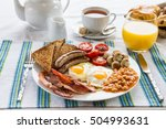 traditional full english... | Shutterstock . vector #504993631
