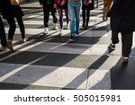 crowd of people crossing a... | Shutterstock . vector #505015981