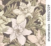 floral seamless pattern  doodle ... | Shutterstock .eps vector #505017229