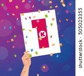 congratulations 1k followers... | Shutterstock .eps vector #505023355