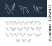alphabet letters with wings.... | Shutterstock .eps vector #505024879