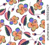 tropical leaves and flowers... | Shutterstock . vector #505031629