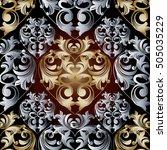 damask floral vector seamless...   Shutterstock .eps vector #505035229