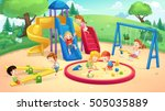 park and playground cartoon ... | Shutterstock .eps vector #505035889