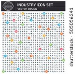 industry icon set clean vector | Shutterstock .eps vector #505056241