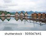 resort in ratchaprapha dam or... | Shutterstock . vector #505067641