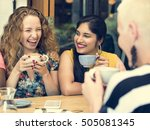 young women drinking coffee... | Shutterstock . vector #505081345