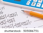 maths quadratic equation... | Shutterstock . vector #505086751