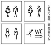 wc   toilet door plate icon set.... | Shutterstock .eps vector #505093984