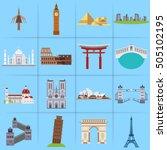 City Icons In Flat Style Taj...