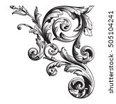 vintage baroque corner scroll... | Shutterstock .eps vector #505104241