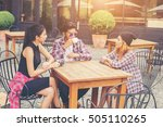 group of young hipster sitting... | Shutterstock . vector #505110265