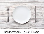 empty plate fork knife...   Shutterstock . vector #505113655