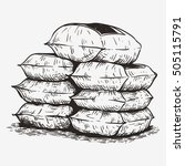 pile sack hand drawing sketch... | Shutterstock .eps vector #505115791