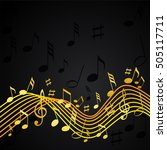 gold music notes on a solide... | Shutterstock .eps vector #505117711