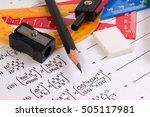 maths quadratic equation... | Shutterstock . vector #505117981