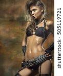 beautiful slim woman in a sexy... | Shutterstock . vector #505119721
