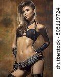 beautiful slim woman in a sexy... | Shutterstock . vector #505119724