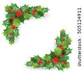 merry christmas holly berries... | Shutterstock .eps vector #505124911