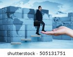businessman walking on concrete ... | Shutterstock . vector #505131751