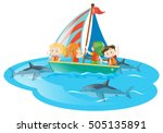 kids on boat watching sharks... | Shutterstock .eps vector #505135891