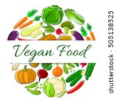 vegan food round emblem with... | Shutterstock .eps vector #505138525