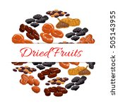 dried fruits decoration emblem. ... | Shutterstock .eps vector #505143955