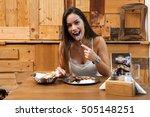 beautiful woman eating...