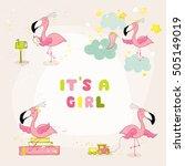 cute flamingo set. baby shower...   Shutterstock .eps vector #505149019