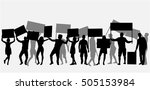 protest people crowd silhouette. | Shutterstock .eps vector #505153984