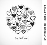 card with doodle sketch hearts... | Shutterstock .eps vector #505159495