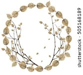Small photo of a circle with almost bare branches and a few silver leaves of raspberry flying down