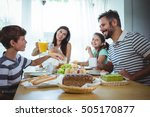 happy family having breakfast... | Shutterstock . vector #505170877