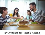 happy family having breakfast... | Shutterstock . vector #505172065