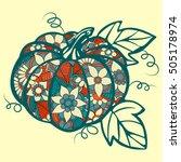 pumpkin doodle isolated line... | Shutterstock .eps vector #505178974