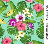 tropical flowers and leaves on... | Shutterstock .eps vector #505181731