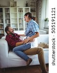 happy woman sitting on mans lap ... | Shutterstock . vector #505191121