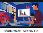 managers looking at the monitor.... | Shutterstock .eps vector #505207111