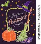 happy halloween  hand drawn... | Shutterstock .eps vector #505208071