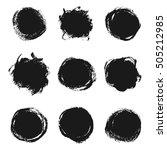 set of black grunge ink round... | Shutterstock .eps vector #505212985