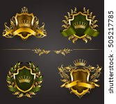 set of golden royal shields... | Shutterstock .eps vector #505217785
