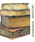 close up of a stack of vintage books on white background - stock photo