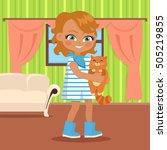 girl holds small cat in her... | Shutterstock .eps vector #505219855
