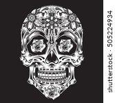 skull flowers illustration ... | Shutterstock .eps vector #505224934