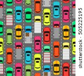 seamless pattern with cars on... | Shutterstock .eps vector #505225195