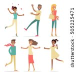 set of shopping people vector... | Shutterstock .eps vector #505225471