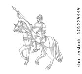 knight in armor on a horse ... | Shutterstock .eps vector #505229449